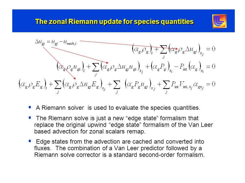 The zonal Riemann update for species quantities A Riemann solver is used to evaluate the species quantities. The Riemann solve is just a new edge stat