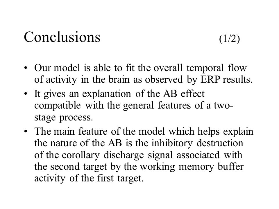 Conclusions (1/2) Our model is able to fit the overall temporal flow of activity in the brain as observed by ERP results. It gives an explanation of t