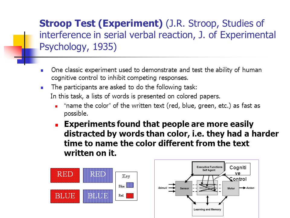 Stroop Test (Experiment) (J.R. Stroop, Studies of interference in serial verbal reaction, J. of Experimental Psychology, 1935) One classic experiment