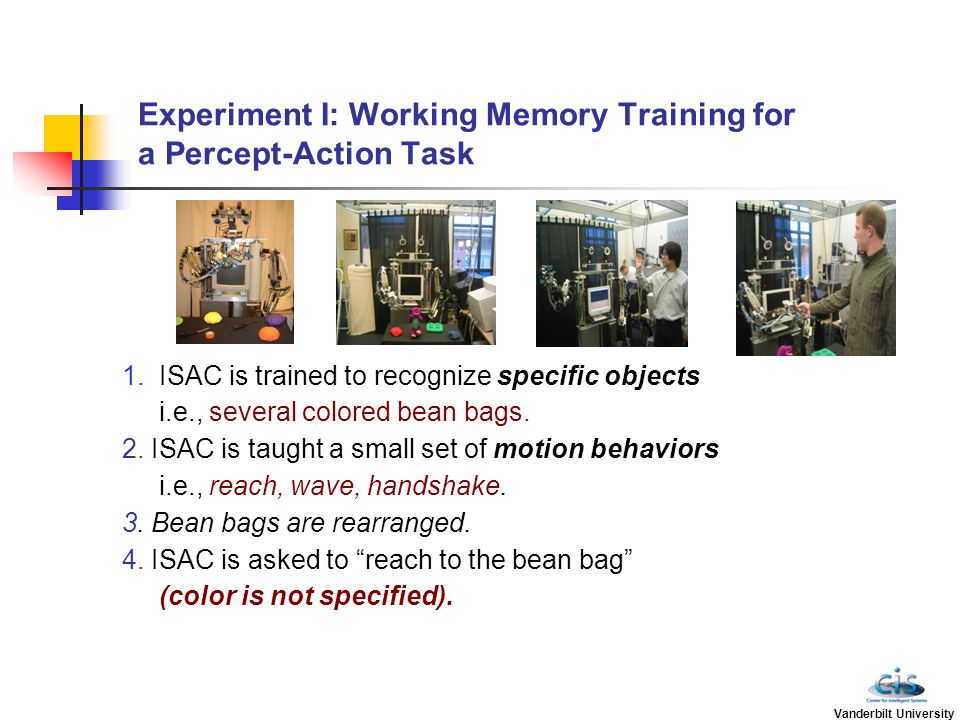 Experiment I: Working Memory Training for a Percept-Action Task 1.ISAC is trained to recognize specific objects i.e., several colored bean bags. 2. IS