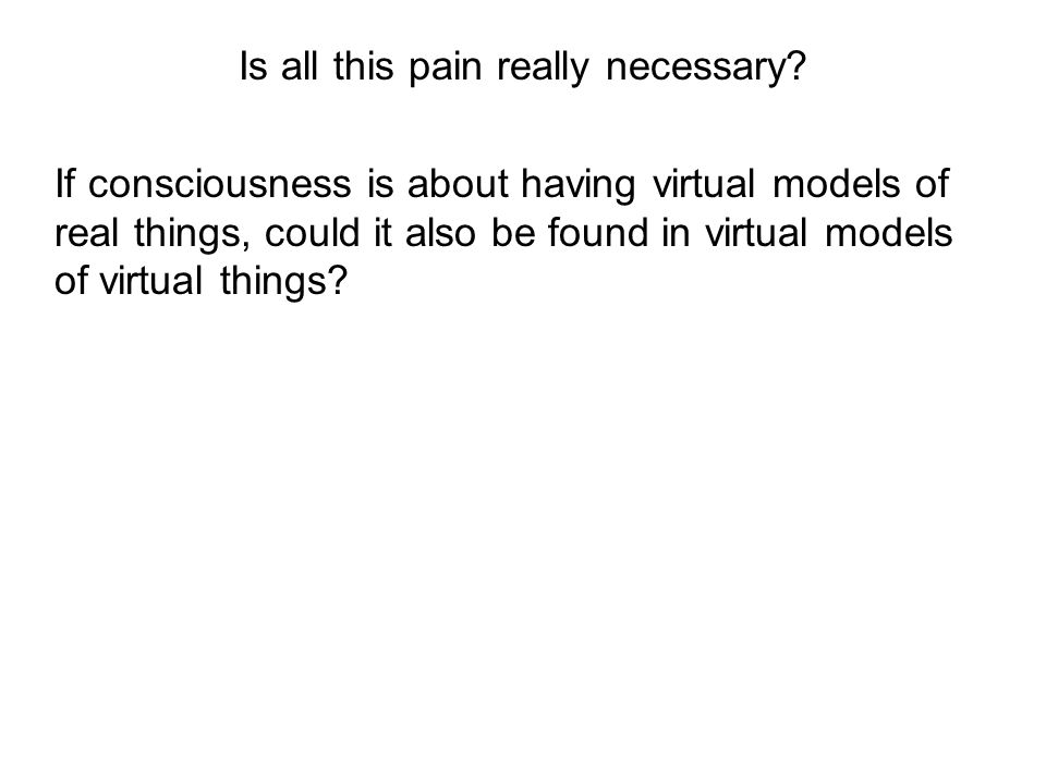 If consciousness is about having virtual models of real things, could it also be found in virtual models of virtual things