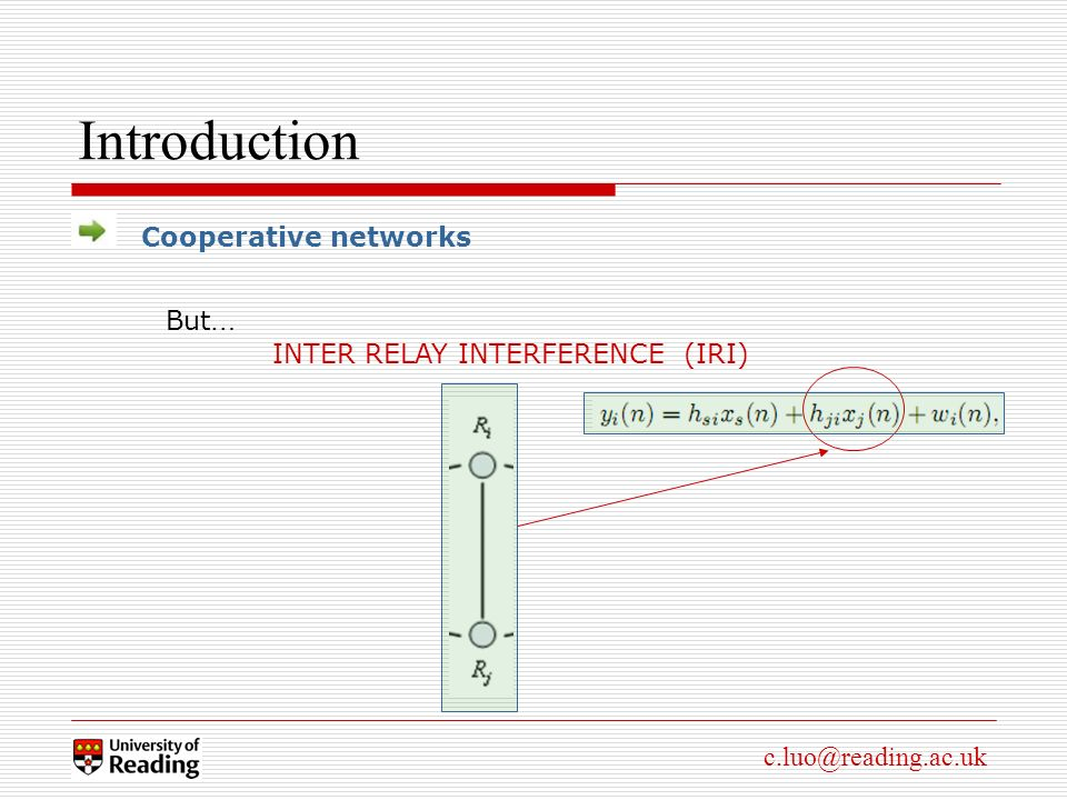 c.luo@reading.ac.uk Introduction Cooperative networks But … INTER RELAY INTERFERENCE (IRI)