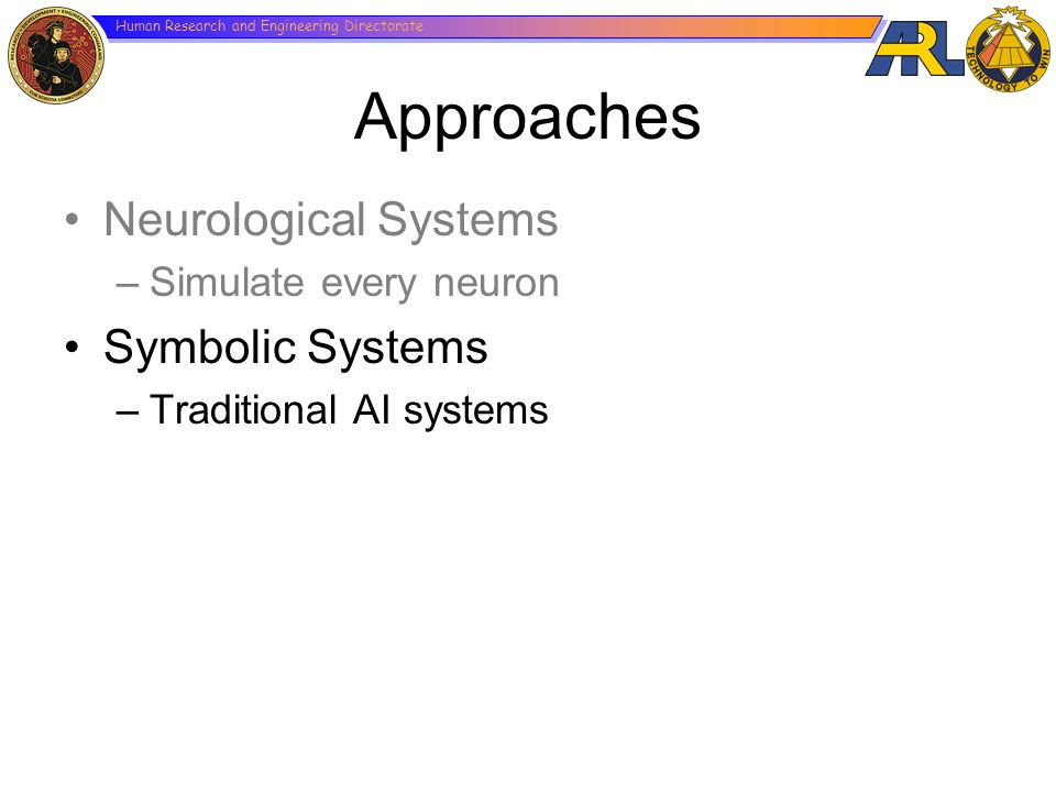Human Research and Engineering Directorate Approaches Neurological Systems –Simulate every neuron Symbolic Systems –Traditional AI systems