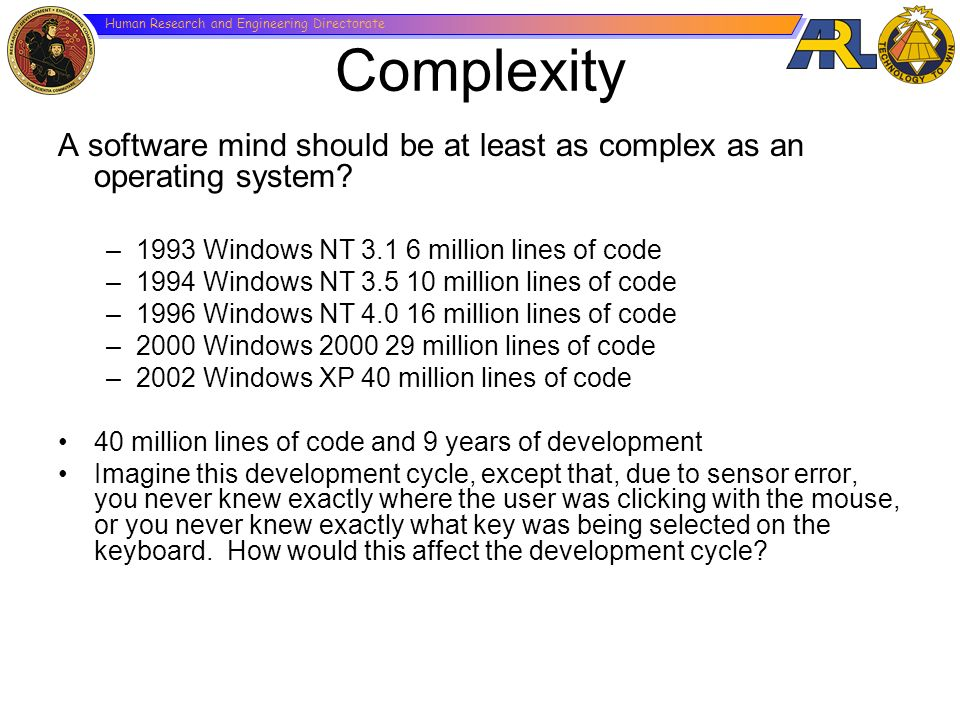 Human Research and Engineering Directorate Complexity A software mind should be at least as complex as an operating system? –1993 Windows NT 3.1 6 mil