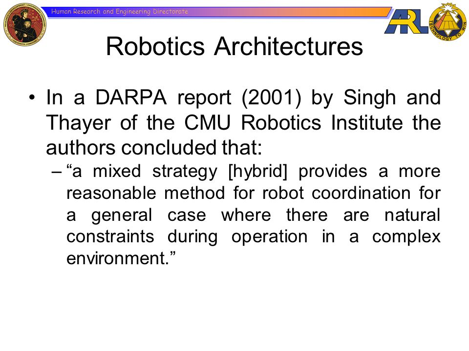 Human Research and Engineering Directorate Robotics Architectures In a DARPA report (2001) by Singh and Thayer of the CMU Robotics Institute the autho