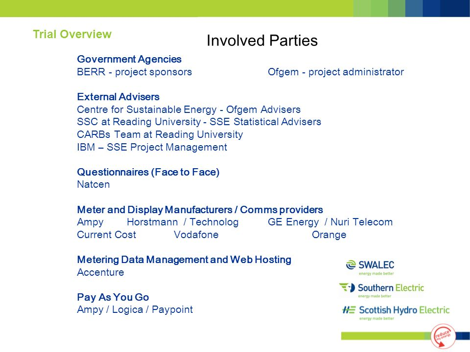 Government Agencies BERR - project sponsors Ofgem - project administrator External Advisers Centre for Sustainable Energy - Ofgem Advisers SSC at Read