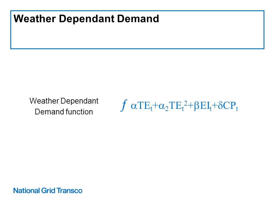 Weather Dependant Demand Weather Dependant Demand function TE t + 2 TE t 2 + EI t + CP t