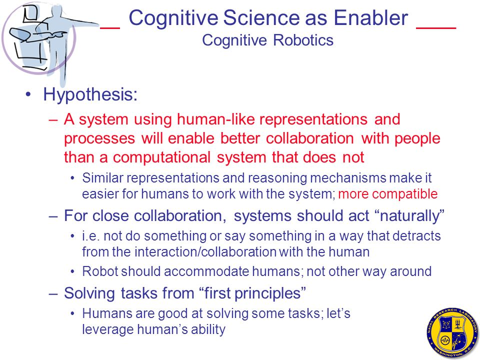 Cognitive Science as Enabler Cognitive Robotics Hypothesis: –A system using human-like representations and processes will enable better collaboration