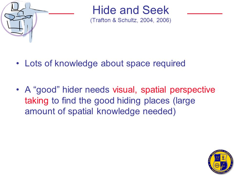 Hide and Seek (Trafton & Schultz, 2004, 2006) Lots of knowledge about space required A good hider needs visual, spatial perspective taking to find the