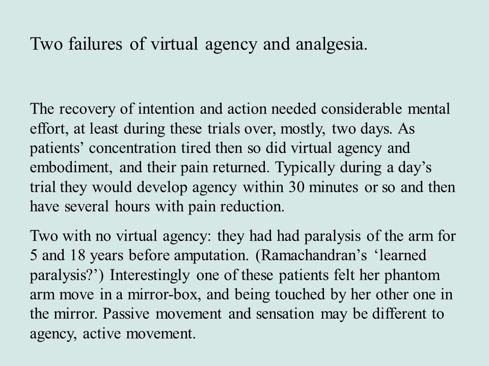 Two failures of virtual agency and analgesia. The recovery of intention and action needed considerable mental effort, at least during these trials ove