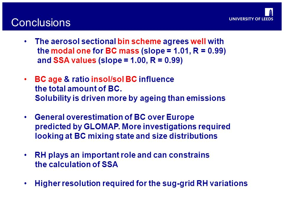 Conclusions The aerosol sectional bin scheme agrees well with the modal one for BC mass (slope = 1.01, R = 0.99) and SSA values (slope = 1.00, R = 0.9