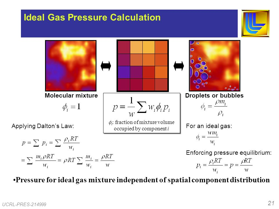 21 UCRL-PRES-214999 Ideal Gas Pressure Pressure for ideal gas mixture independent of spatial component distribution i : fraction of mixture volume occupied by component i Molecular mixtureDroplets or bubbles Ideal Gas Pressure Calculation For an ideal gas: Enforcing pressure equilibrium: Applying Daltons Law: