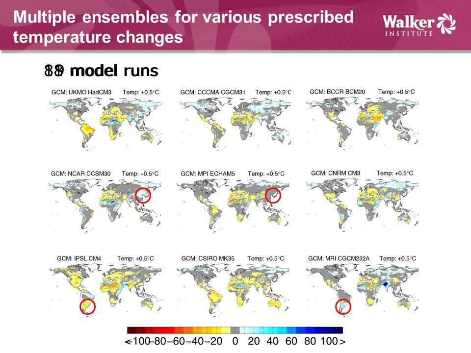 Multiple ensembles for various prescribed temperature changes 9 model runs18 model runs81 model runs