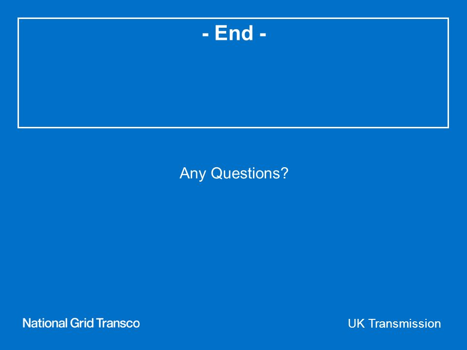 UK Transmission - End - Any Questions