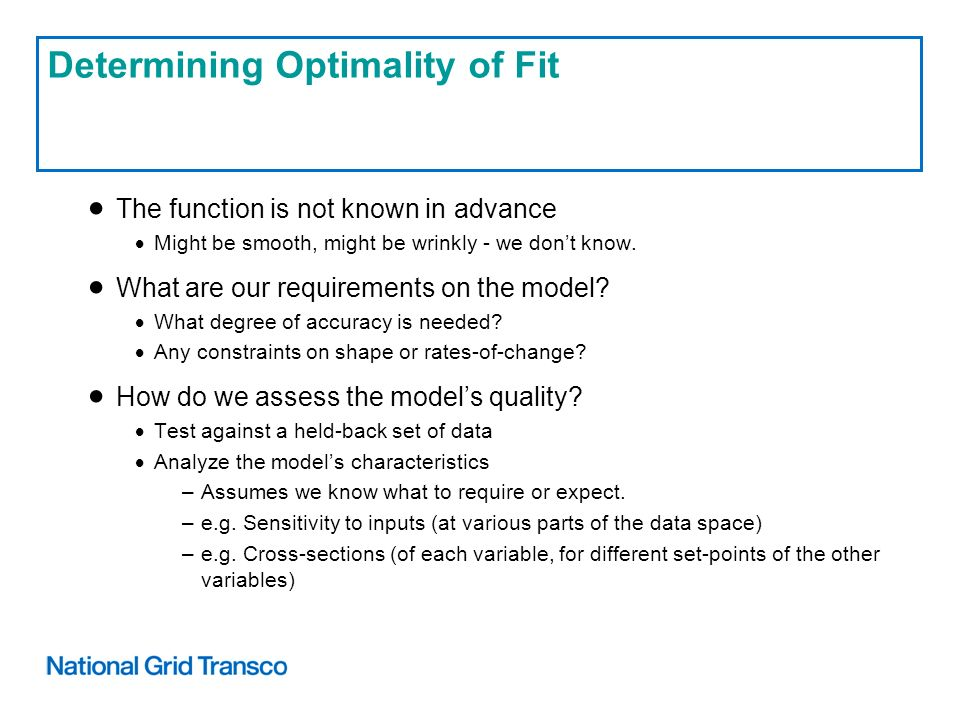 Determining Optimality of Fit The function is not known in advance Might be smooth, might be wrinkly - we dont know.