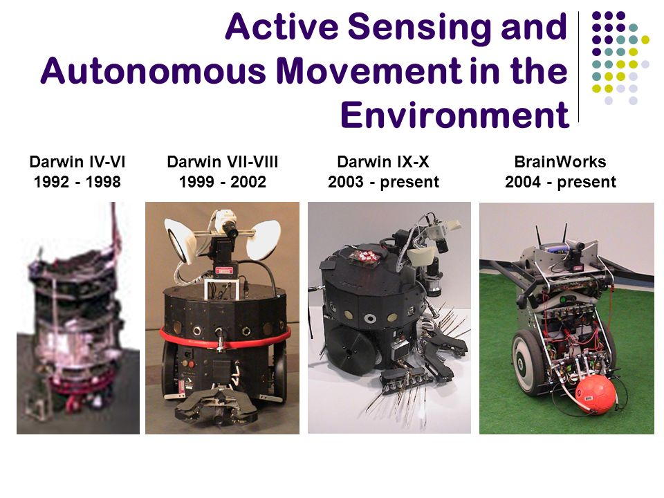Active Sensing and Autonomous Movement in the Environment Darwin VII-VIII 1999 - 2002 Darwin IX-X 2003 - present Darwin IV-VI 1992 - 1998 BrainWorks 2
