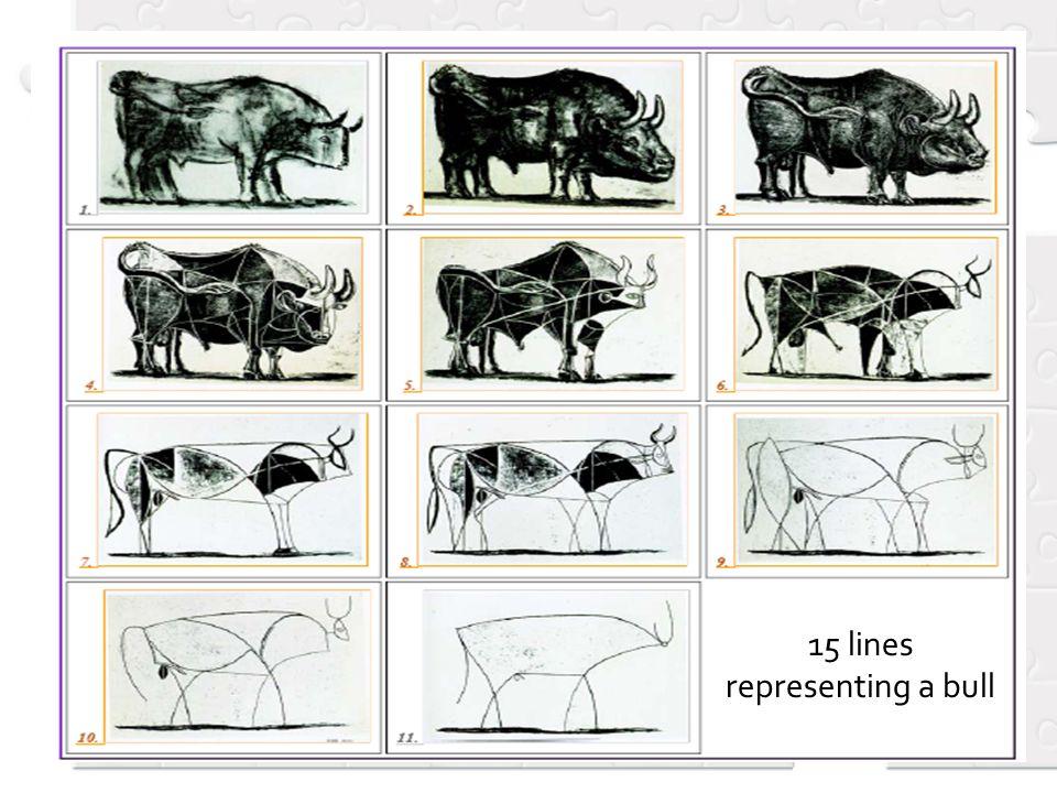15 lines representing a bull