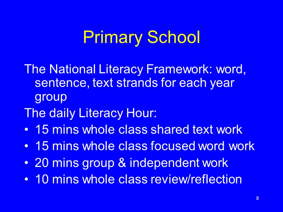 9 Secondary School Framework for teaching English Literacy across the Curriculum Word, sentence, text levels defined by year Text level – writing: Year 7 (age 11): Plan, draft and present Write to imagine, explore, entertain Write to inform, explain, describe Write to persuade, argue, advise Write to analyse, review, comment