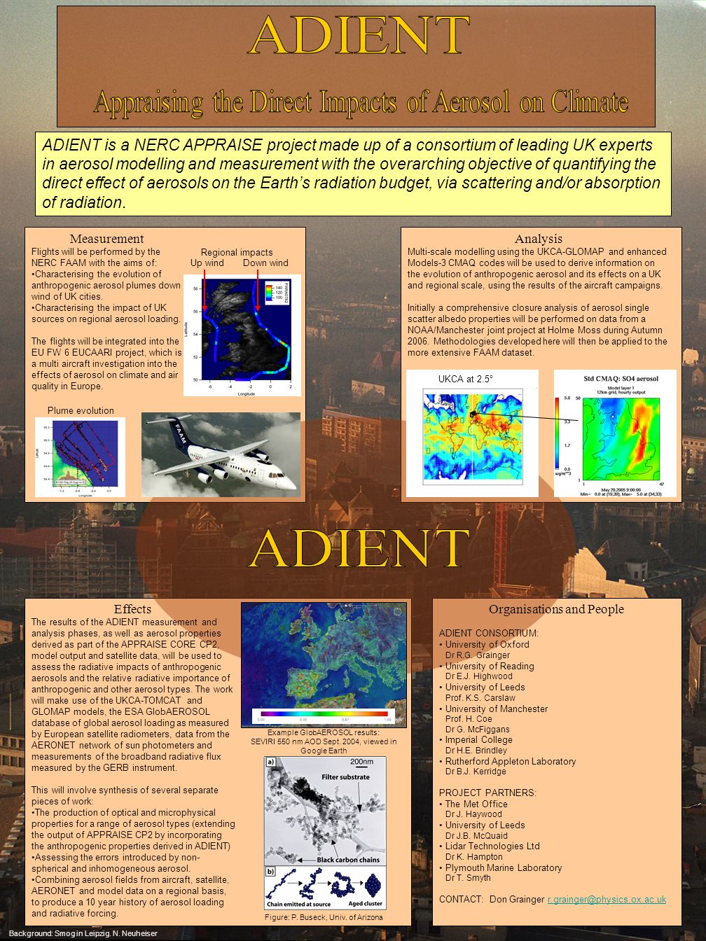 ADIENT is a NERC APPRAISE project made up of a consortium of leading UK experts in aerosol modelling and measurement with the overarching objective of quantifying the direct effect of aerosols on the Earths radiation budget, via scattering and/or absorption of radiation.