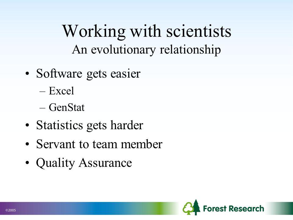 Working with scientists An evolutionary relationship Software gets easier –Excel –GenStat Statistics gets harder Servant to team member Quality Assurance