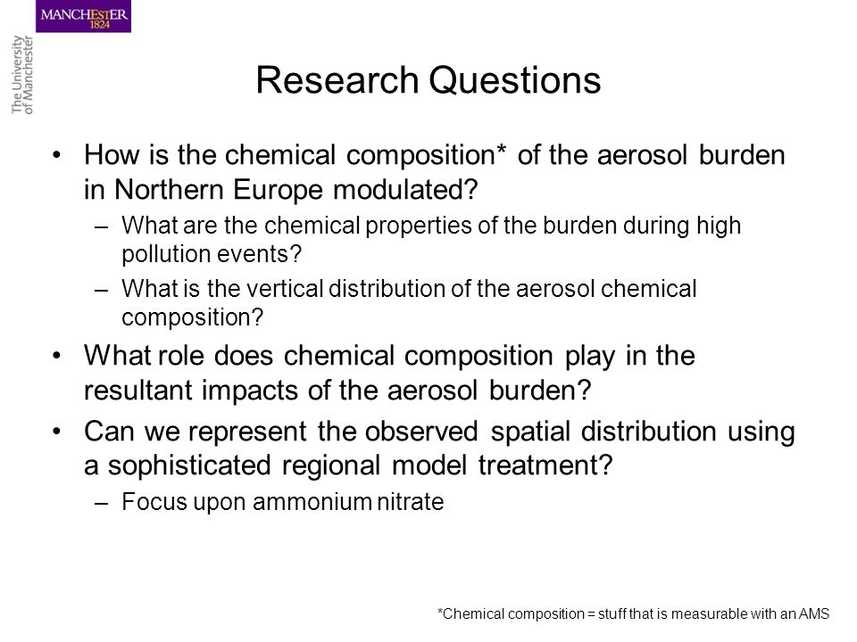 Research Questions How is the chemical composition* of the aerosol burden in Northern Europe modulated.