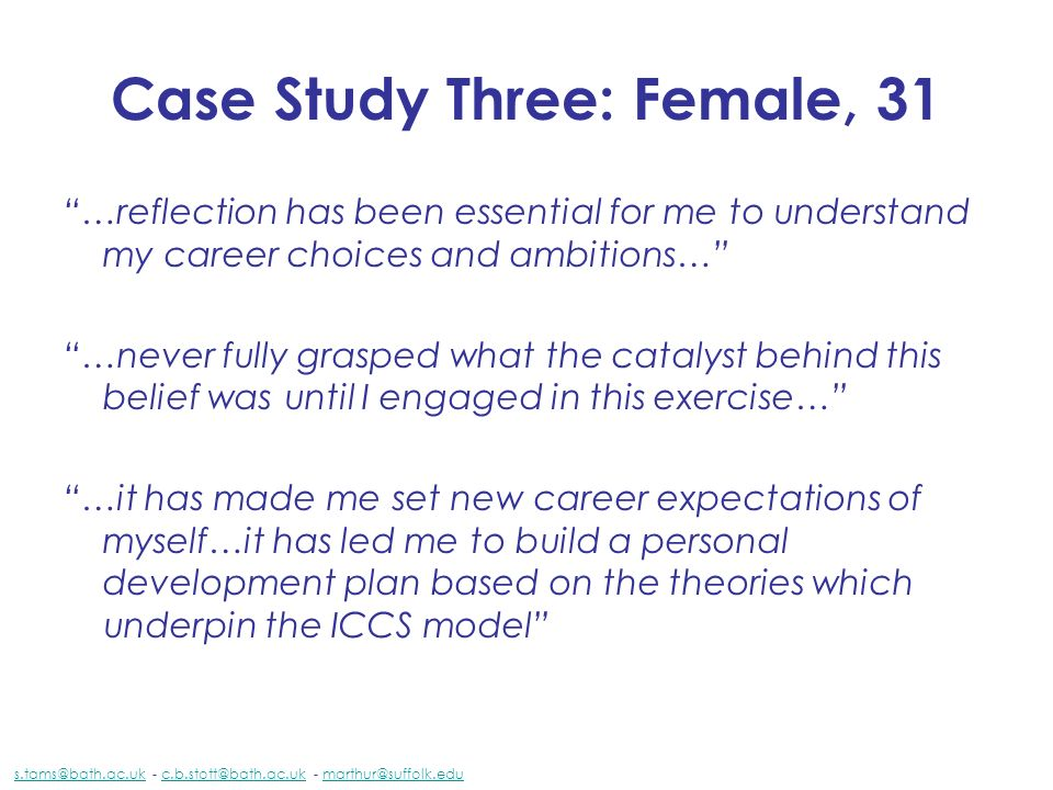 Case Study Three: Female, 31 …reflection has been essential for me to understand my career choices and ambitions… …never fully grasped what the cataly