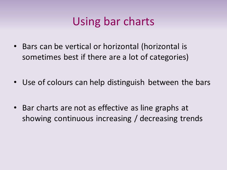 Using bar charts Bars can be vertical or horizontal (horizontal is sometimes best if there are a lot of categories) Use of colours can help distinguis