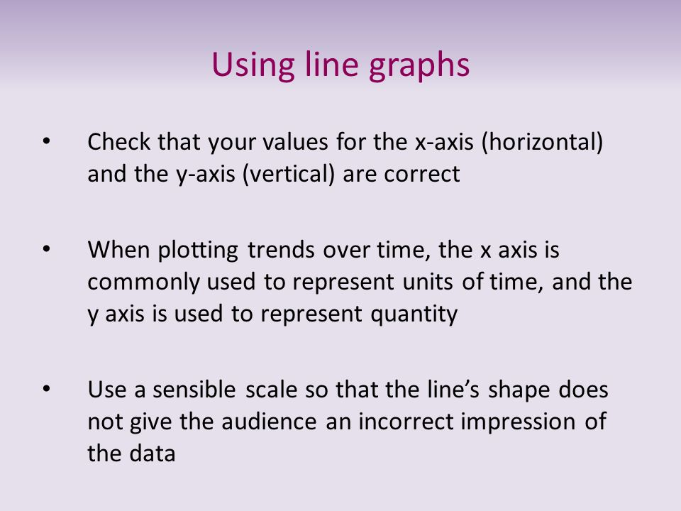 Using line graphs Check that your values for the x-axis (horizontal) and the y-axis (vertical) are correct When plotting trends over time, the x axis