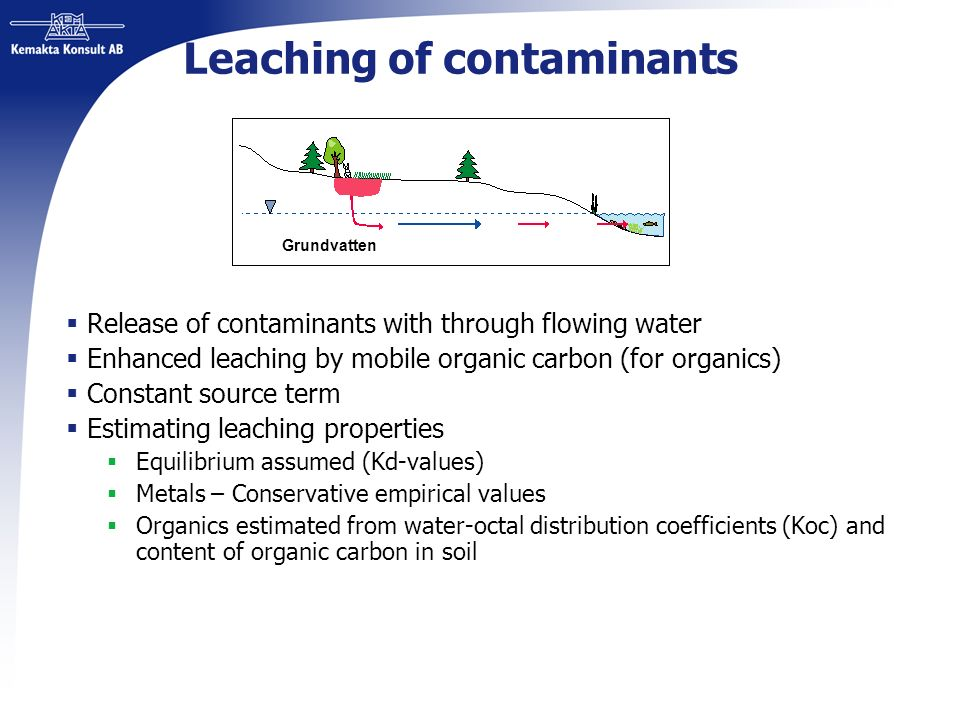 Leaching of contaminants Release of contaminants with through flowing water Enhanced leaching by mobile organic carbon (for organics) Constant source