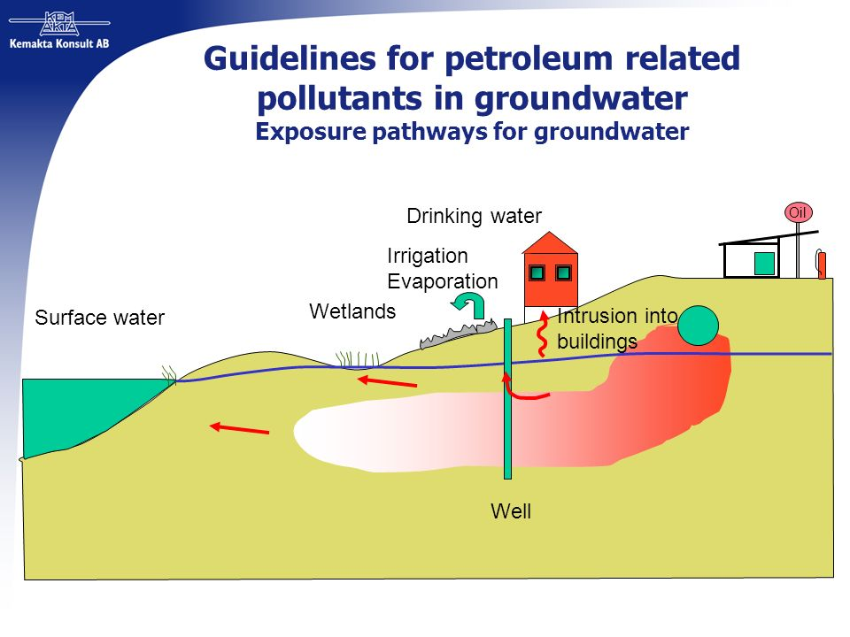 Guidelines for petroleum related pollutants in groundwater Exposure pathways for groundwater Surface water Wetlands Well Drinking water Irrigation Eva