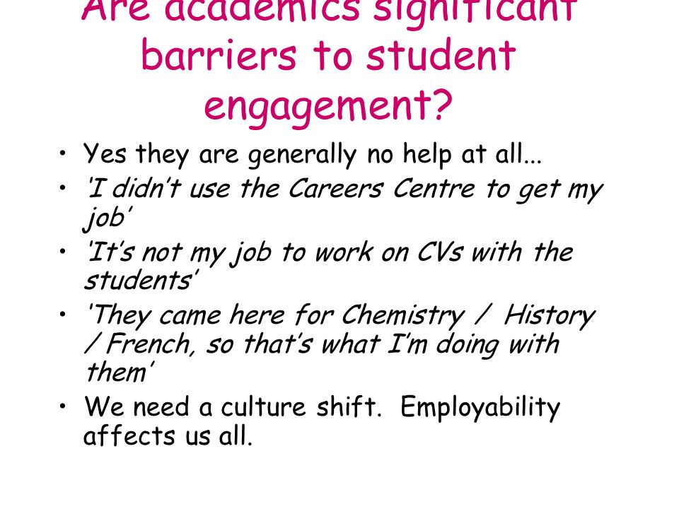 Are academics significant barriers to student engagement.