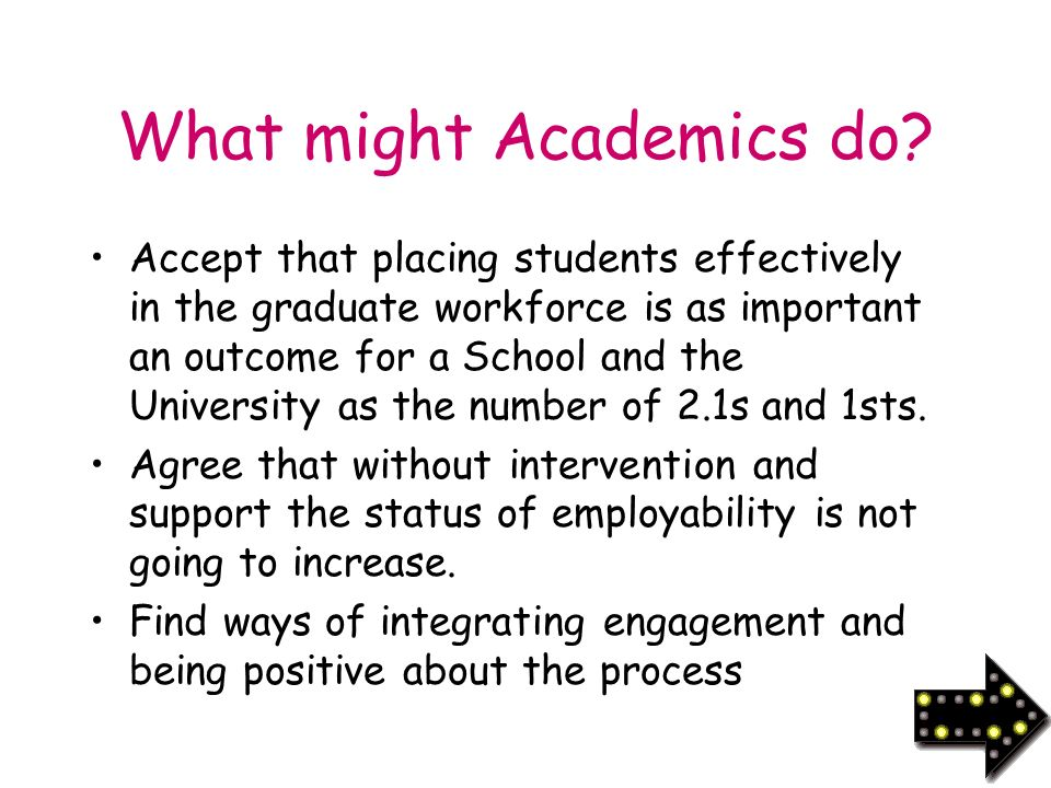 What might Academics do.