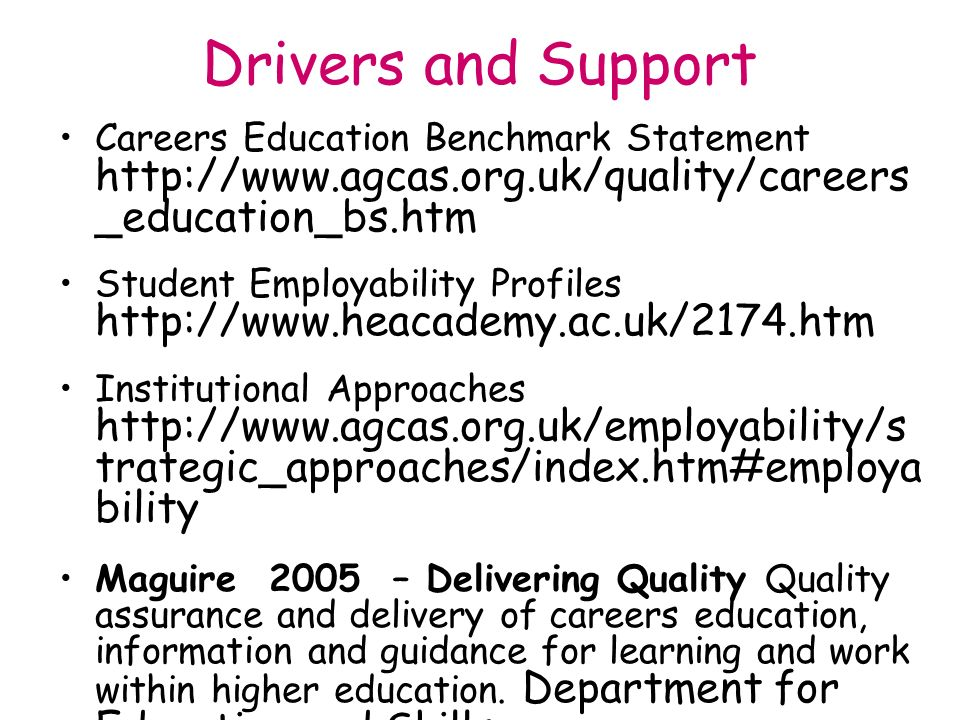 Drivers and Support Careers Education Benchmark Statement http://www.agcas.org.uk/quality/careers _education_bs.htm Student Employability Profiles http://www.heacademy.ac.uk/2174.htm Institutional Approaches http://www.agcas.org.uk/employability/s trategic_approaches/index.htm#employa bility Maguire 2005 – Delivering Quality Quality assurance and delivery of careers education, information and guidance for learning and work within higher education.