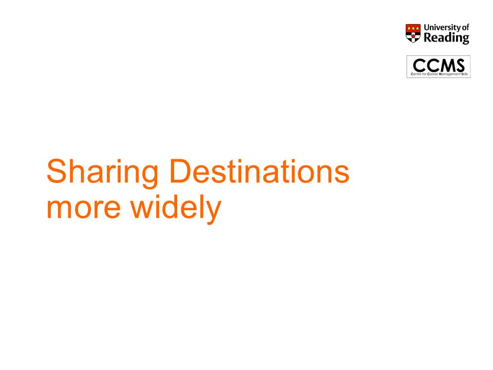 Sharing Destinations more widely