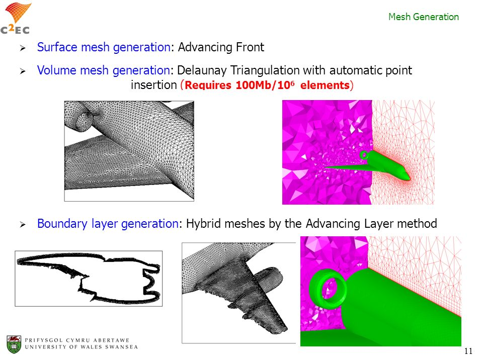 11 Surface mesh generation: Advancing Front Volume mesh generation: Delaunay Triangulation with automatic point insertion ( Requires 100Mb/10 6 elemen