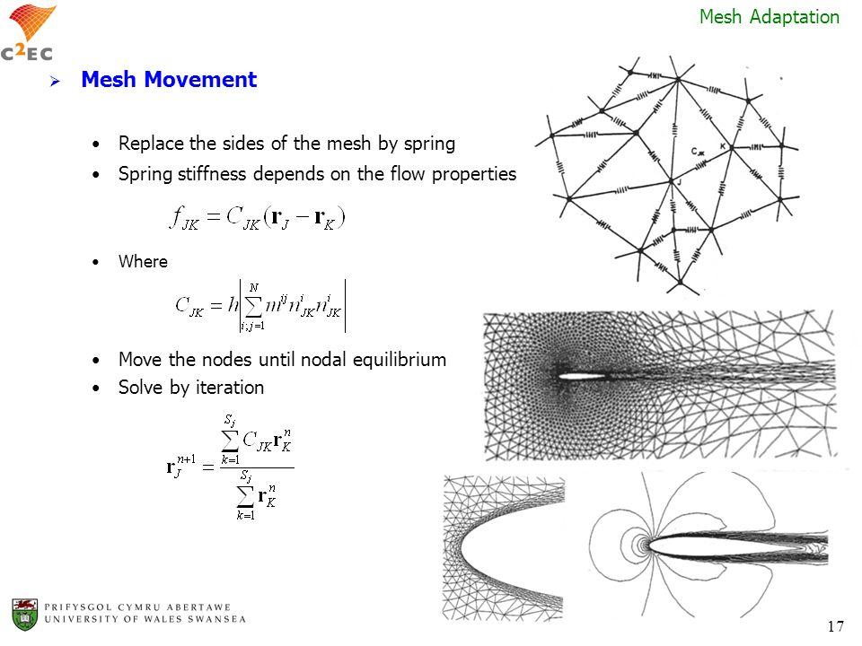 17 Mesh Movement Replace the sides of the mesh by spring Spring stiffness depends on the flow properties Where Move the nodes until nodal equilibrium