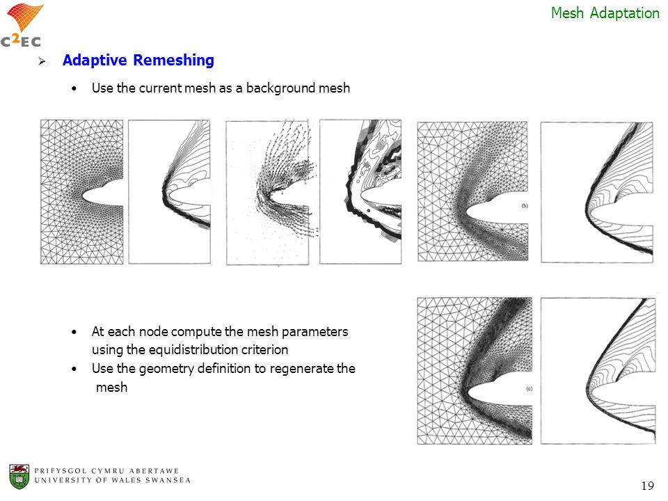 19 Mesh Adaptation Adaptive Remeshing Use the current mesh as a background mesh At each node compute the mesh parameters using the equidistribution cr