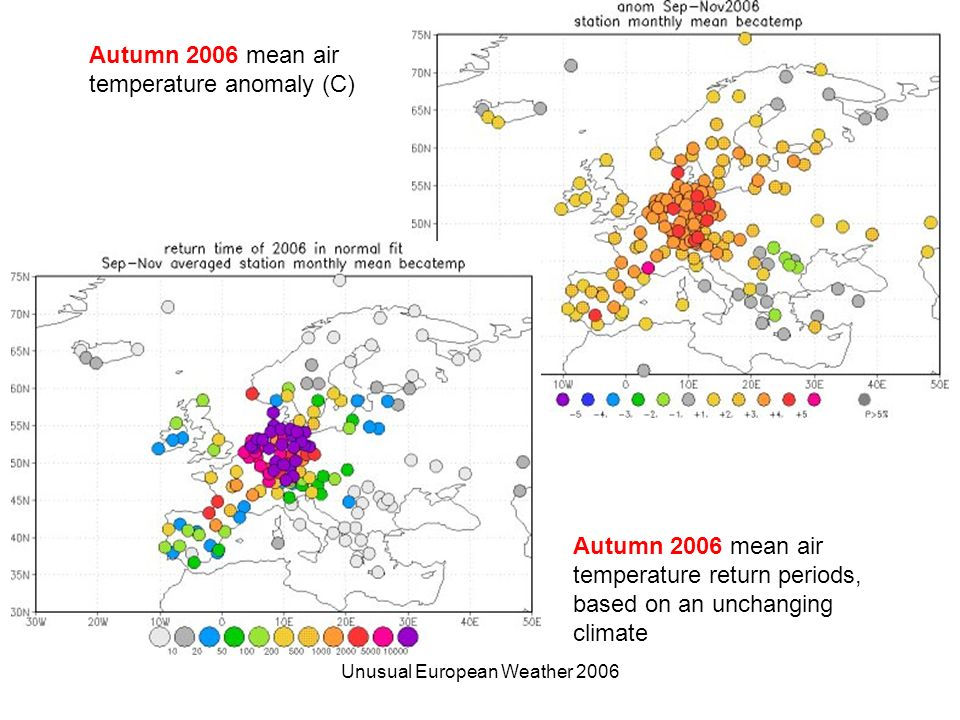 Unusual European Weather 2006 Autumn 2006 mean air temperature return periods, based on an unchanging climate Autumn 2006 mean air temperature anomaly