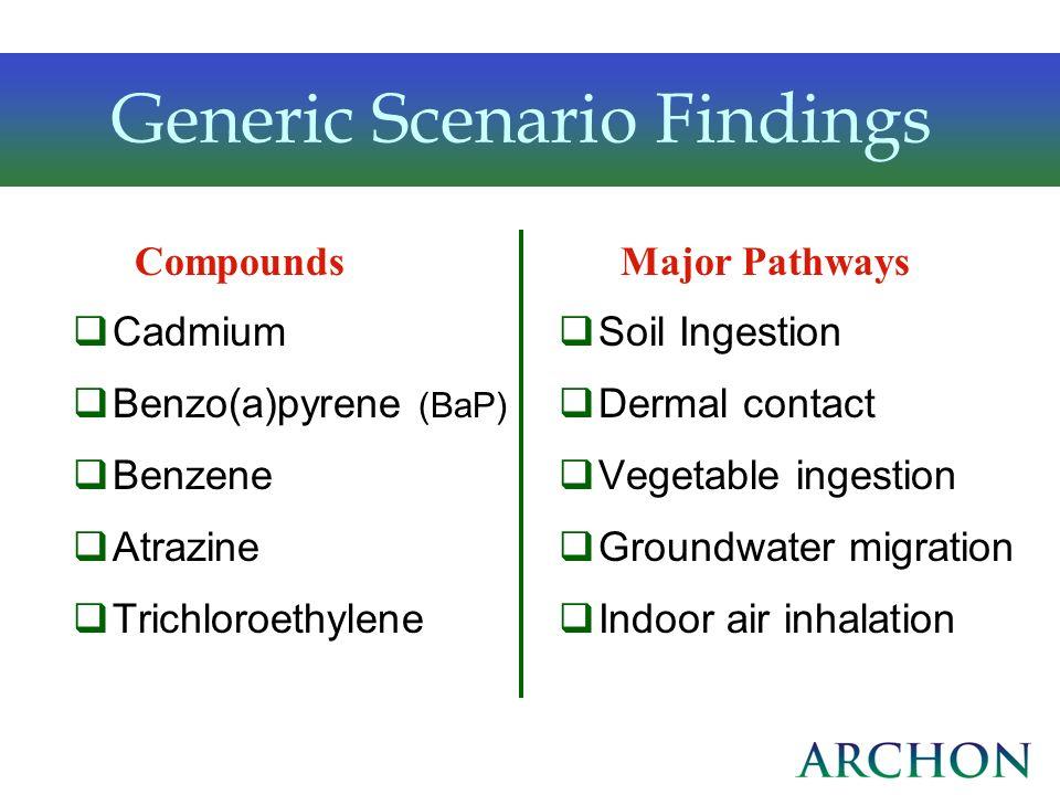 Cadmium Benzo(a)pyrene (BaP) Benzene Atrazine Trichloroethylene Soil Ingestion Dermal contact Vegetable ingestion Groundwater migration Indoor air inh