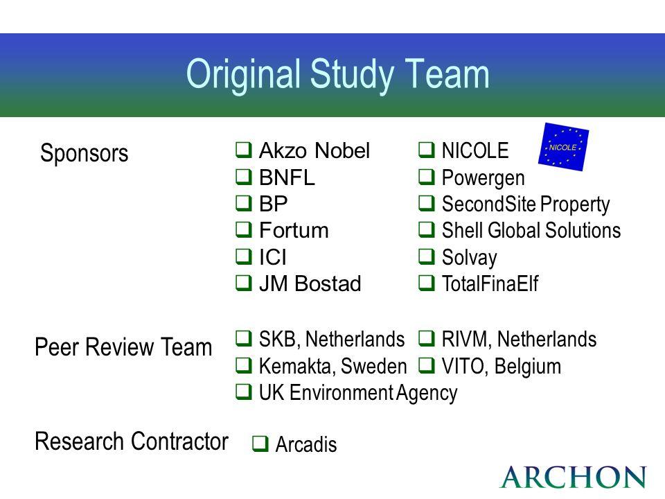 Original Study Team Sponsors Akzo Nobel BNFL BP Fortum ICI JM Bostad NICOLE Powergen SecondSite Property Shell Global Solutions Solvay TotalFinaElf Pe