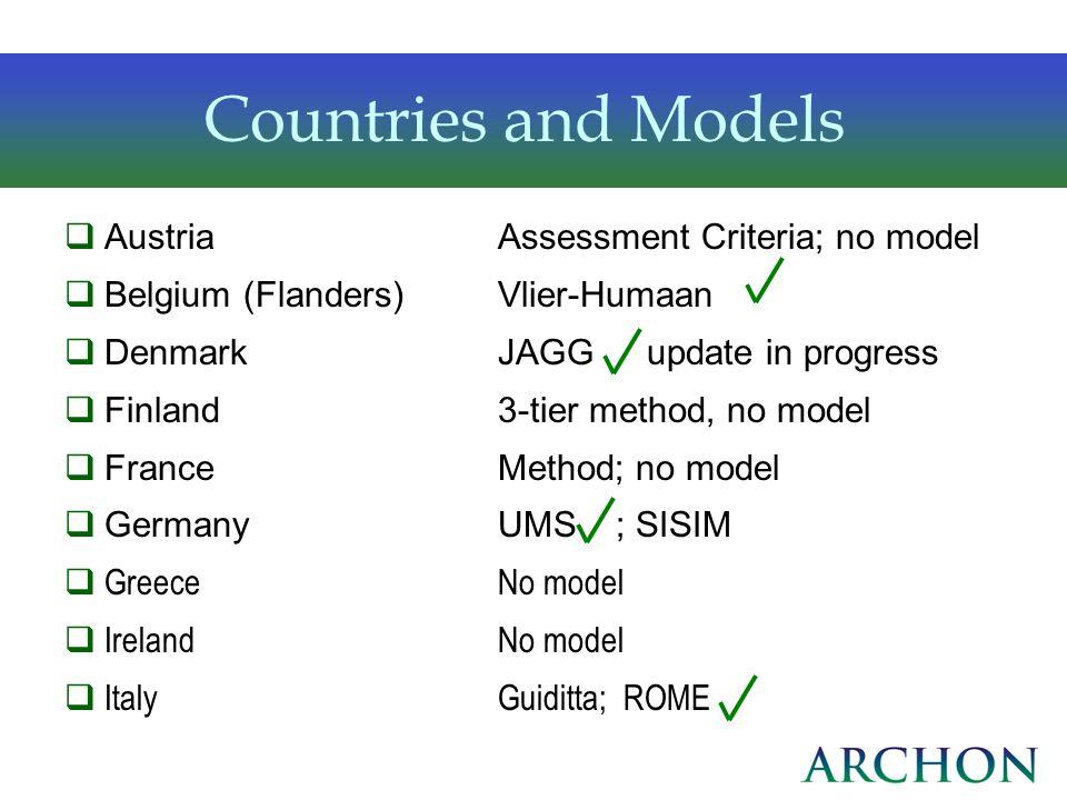Countries and Models AustriaAssessment Criteria; no model Belgium (Flanders)Vlier-Humaan DenmarkJAGG update in progress Finland3-tier method, no model