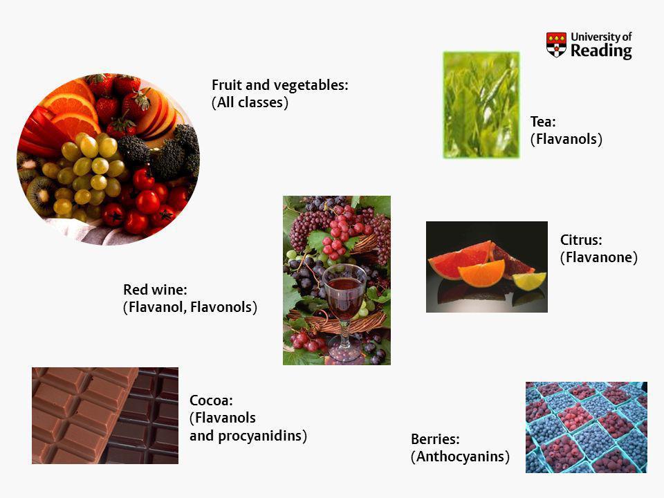 Flavonoids: source Fruit and vegetables: (All classes) Red wine: (Flavanol, Flavonols) Cocoa: (Flavanols and procyanidins) Tea: (Flavanols) Berries: (