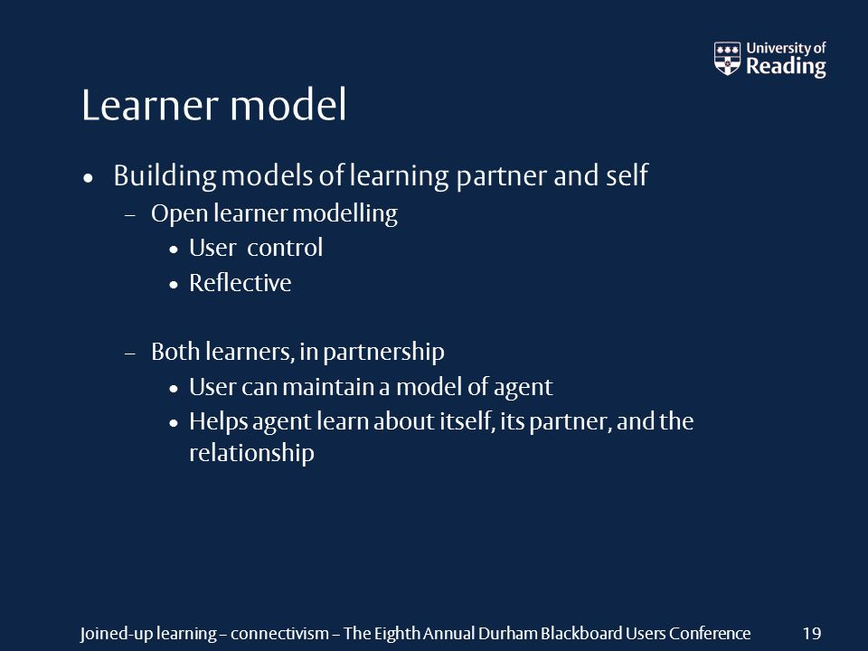 Joined-up learning – connectivism – The Eighth Annual Durham Blackboard Users Conference Learner model Building models of learning partner and self – Open learner modelling User control Reflective – Both learners, in partnership User can maintain a model of agent Helps agent learn about itself, its partner, and the relationship 19