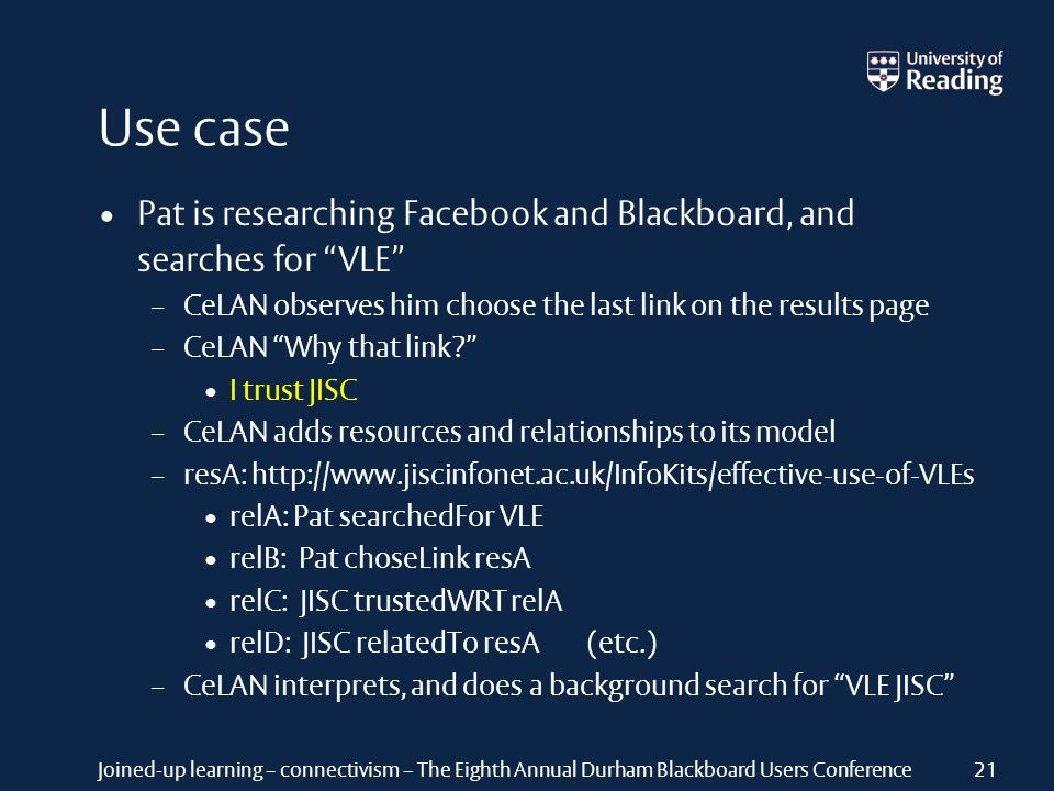 Joined-up learning – connectivism – The Eighth Annual Durham Blackboard Users Conference Use case Pat is researching Facebook and Blackboard, and sear
