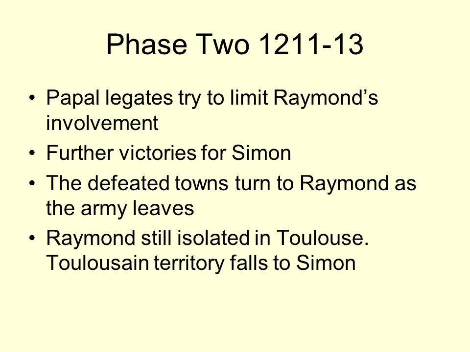 Phase Two 1211-13 Papal legates try to limit Raymonds involvement Further victories for Simon The defeated towns turn to Raymond as the army leaves Raymond still isolated in Toulouse.