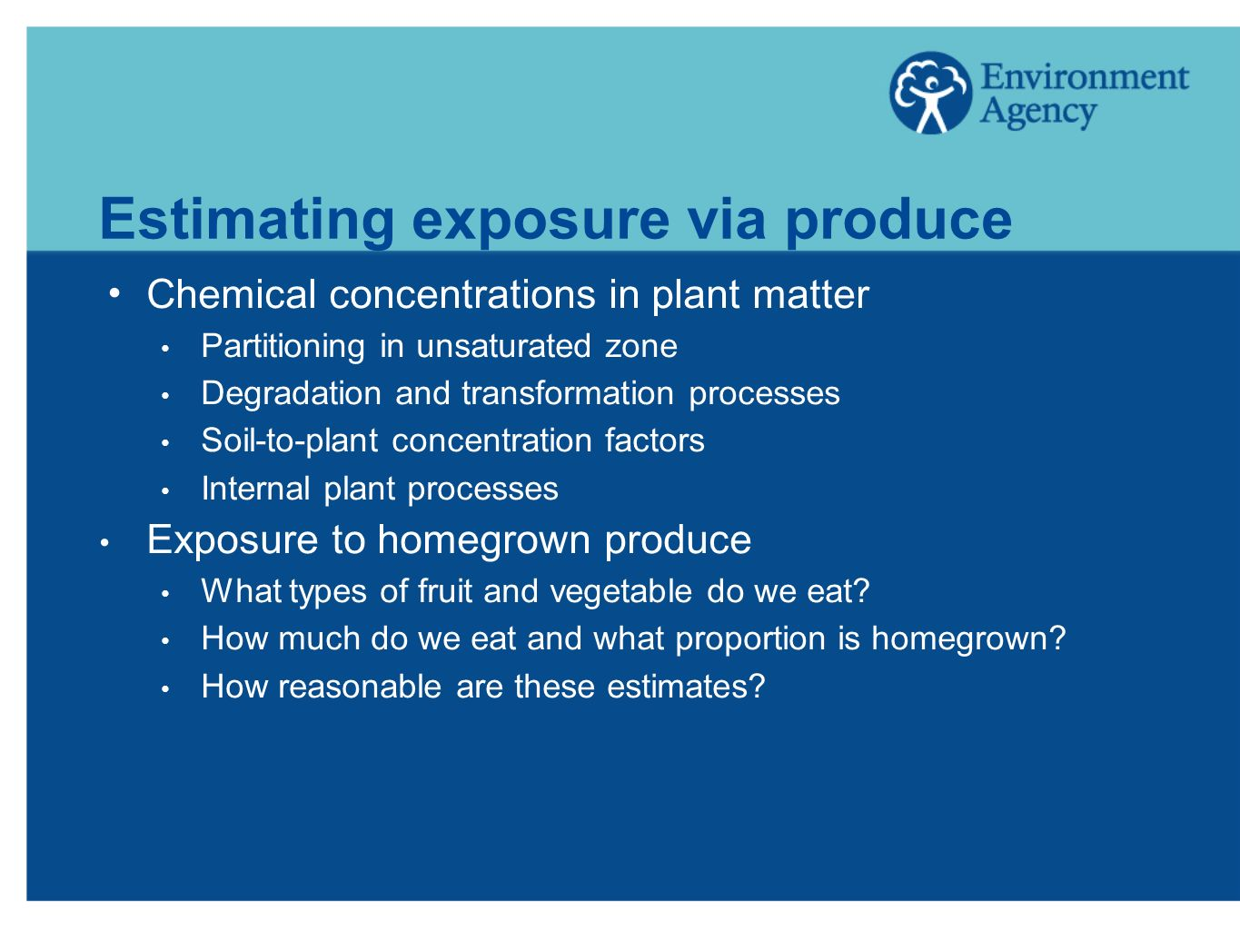 Estimating exposure via produce Chemical concentrations in plant matter Partitioning in unsaturated zone Degradation and transformation processes Soil-to-plant concentration factors Internal plant processes Exposure to homegrown produce What types of fruit and vegetable do we eat.