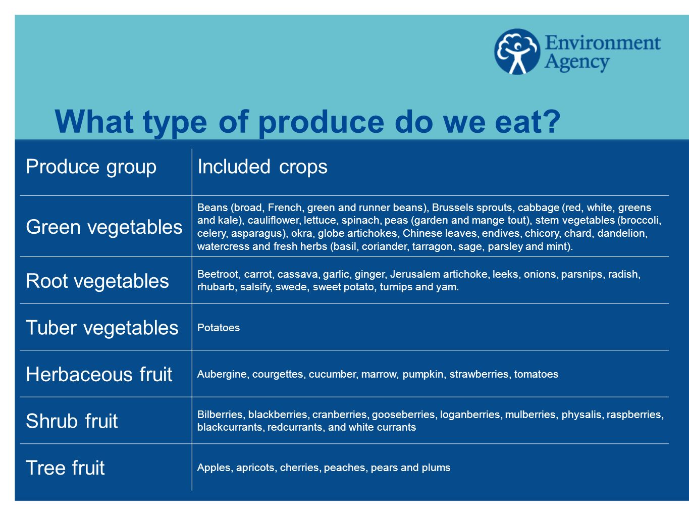 What type of produce do we eat? Produce groupIncluded crops Green vegetables Beans (broad, French, green and runner beans), Brussels sprouts, cabbage