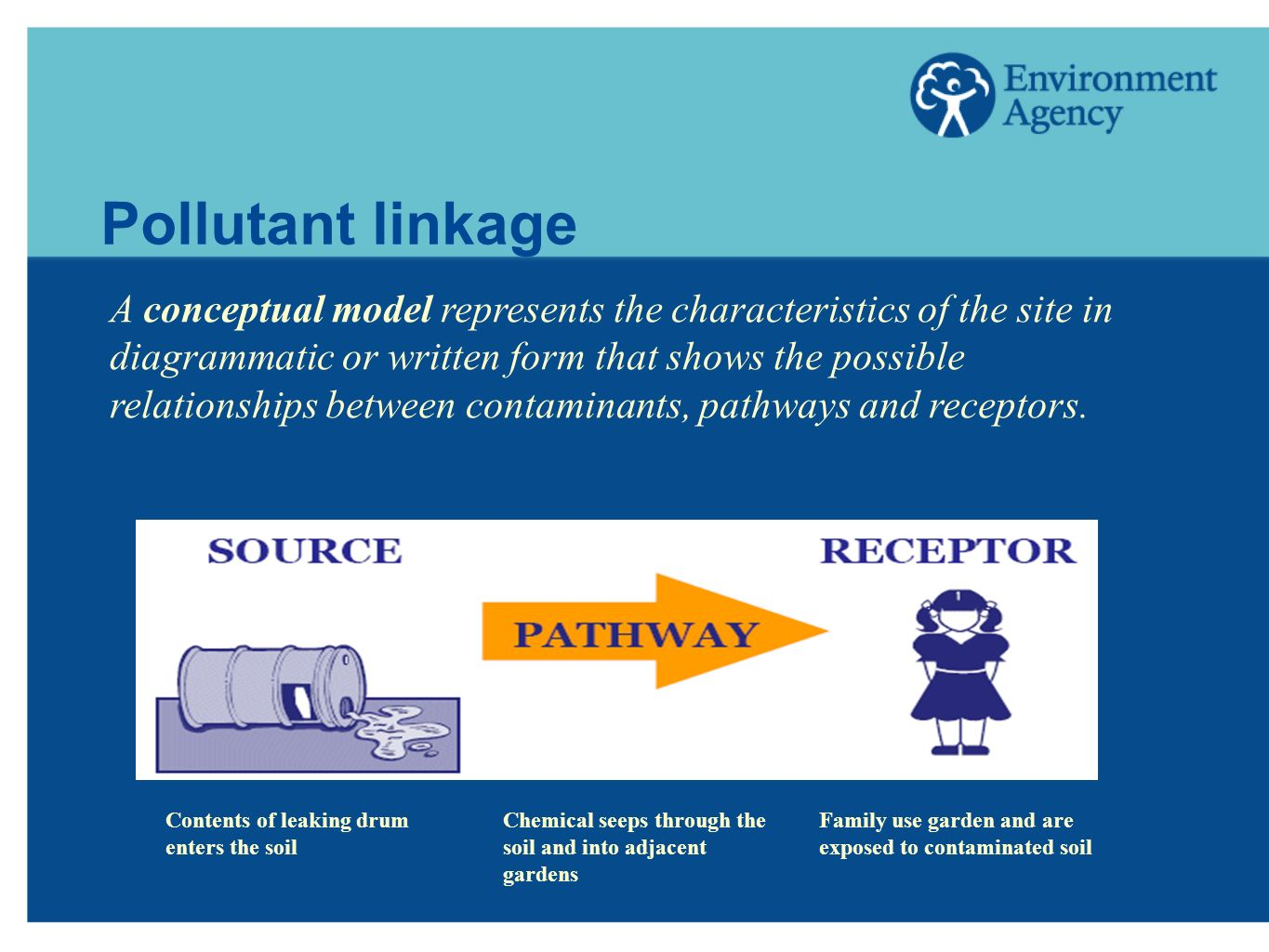 Pollutant linkage A conceptual model represents the characteristics of the site in diagrammatic or written form that shows the possible relationships between contaminants, pathways and receptors.