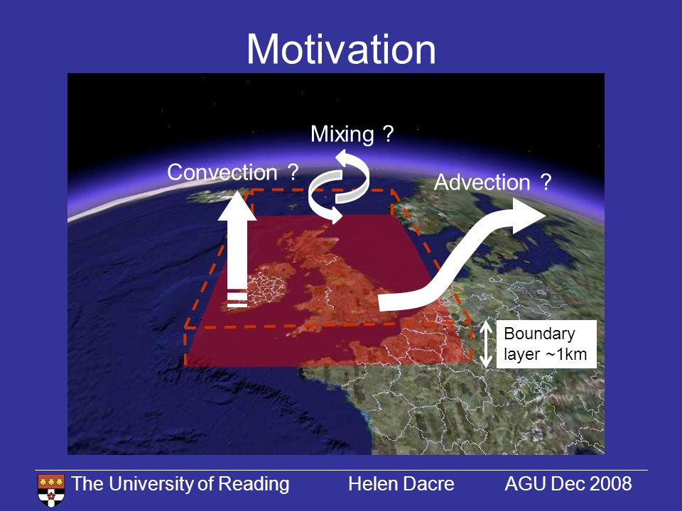 The University of Reading Helen Dacre AGU Dec 2008 Motivation Boundary layer ~1km Advection .