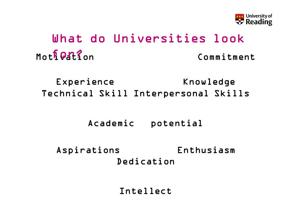 Motivation Commitment Experience Knowledge Technical Skill Interpersonal Skills Academic potential Aspirations Enthusiasm Dedication Intellect What do Universities look for.
